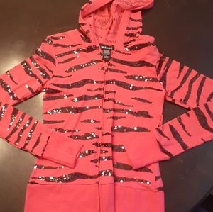 Sz Small Pink & black Wet Seal jacket sequins